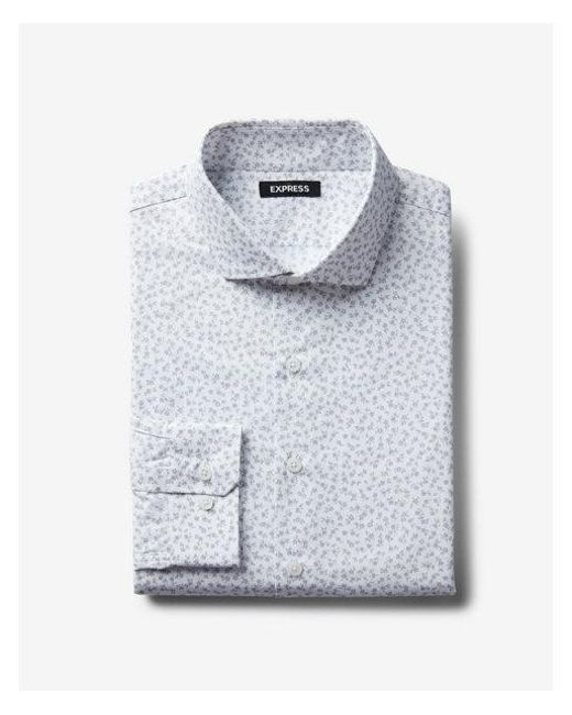 e40261562e Express Big & Tall Slim Small Floral Dress Shirt in Gray for Men - Lyst