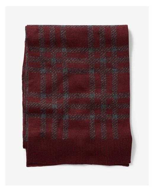Express - Red Plaid Merino Wool Blend Scarf for Men - Lyst
