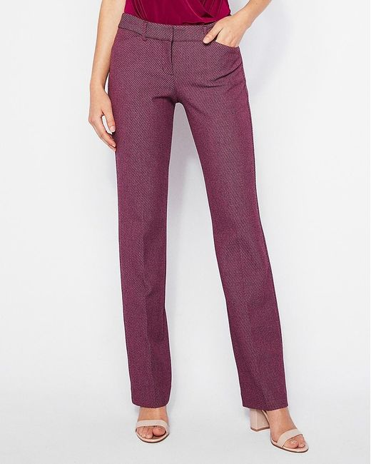 Express Low Rise Twill Barely Boot Editor Pant Pink Print