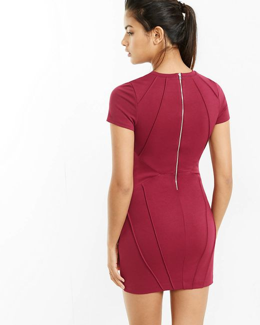 Express Berry Pintucked Short Sleeve Sheath Dress in Red (BERRY ...