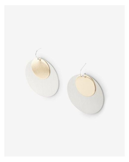 Express - Metallic Layered Disc Drop Earrings - Lyst