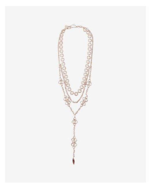 Express - Metallic Ornate Nested Y-neck Necklace - Lyst