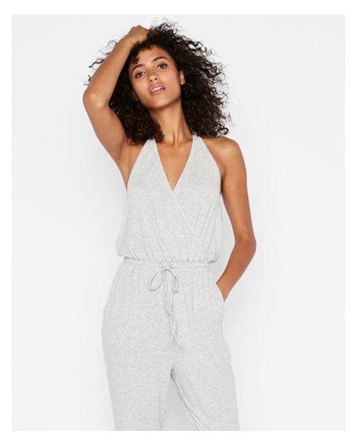 Express - Gray Knit Halter Neck Jumpsuit - Lyst
