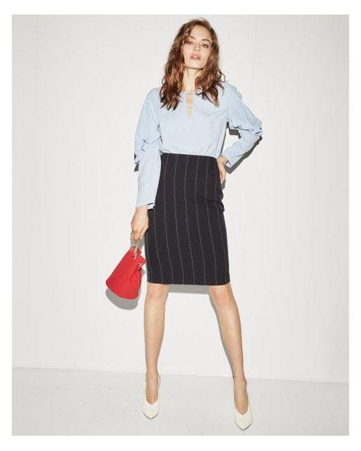 Express - Blue High Waisted Pinstripe Pencil Skirt - Lyst