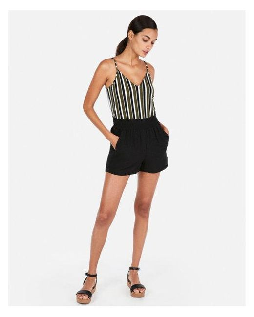 Express - Black High Waisted Utility Shorts - Lyst