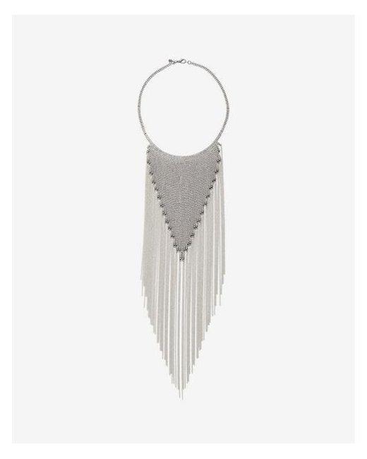 Express | Metallic Rhinestone Fringe Collar Necklace | Lyst