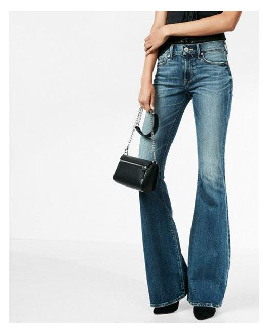 Express - Blue Mid Rise Stretch+ Performance Bell Flare Jeans, Women's Size:00 Short - Lyst