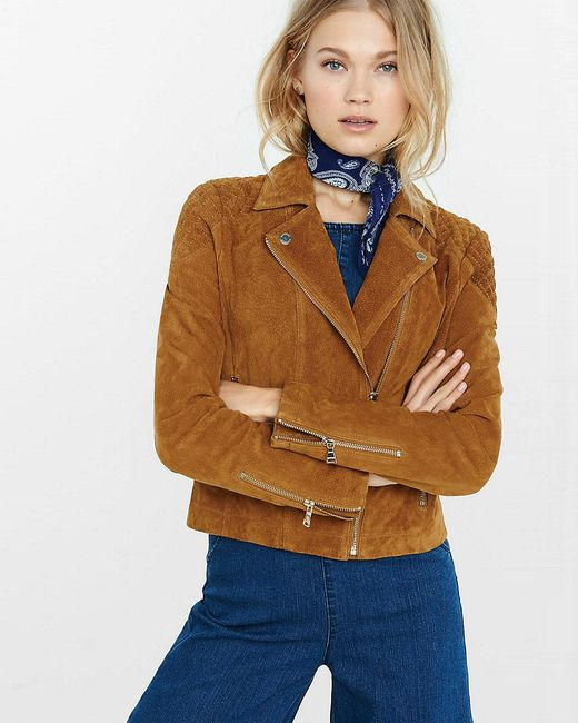 Express Genuine Suede Moto Jacket In Brown Lyst