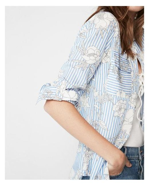 Express - Blue Petite Stripe Floral City Shirt - Lyst