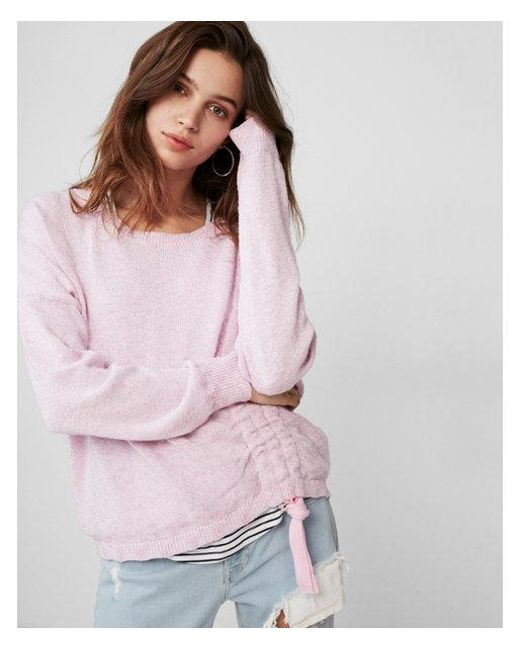 70b0c0b8a Lyst - Express Marled Asymmetrical Ruched Pullover Sweater in Pink