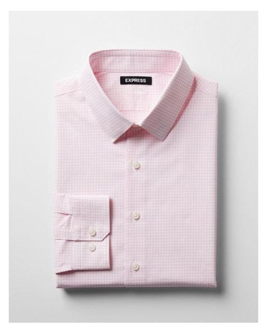 Express - Pink Slim Check Pattern Spread Collar Cotton Dress Shirt for Men - Lyst