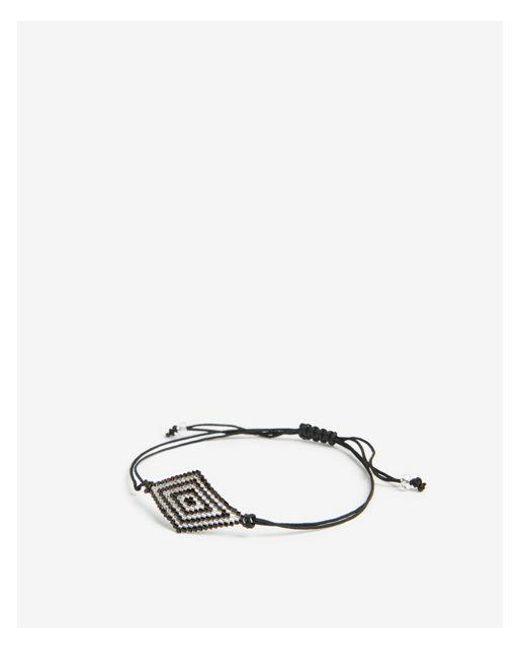 Express - Black Beaded Pull-cord Bracelet - Lyst