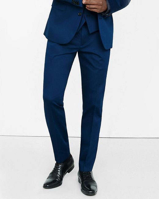 Express Extra Slim Innovator Blue Cotton Sateen Suit Pant
