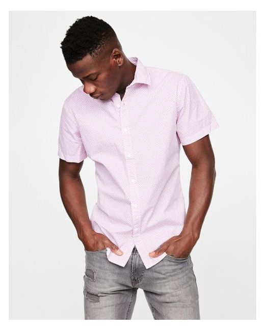 Express - Purple Slim Micro Print Short Sleeve Shirt for Men - Lyst