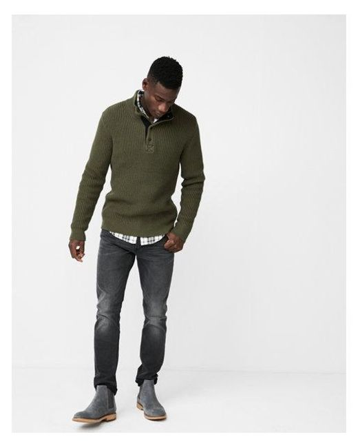 Express | Green Snap Mock Neck Sweater for Men | Lyst