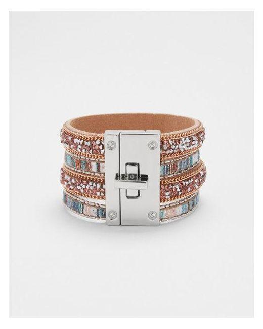 Express - Metallic Tripe Stone Turnlock Cuff Bracelet - Lyst