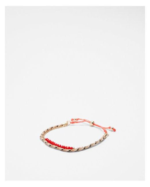 Express - Orange Double Row Faceted Pull-cord Bracelet - Lyst