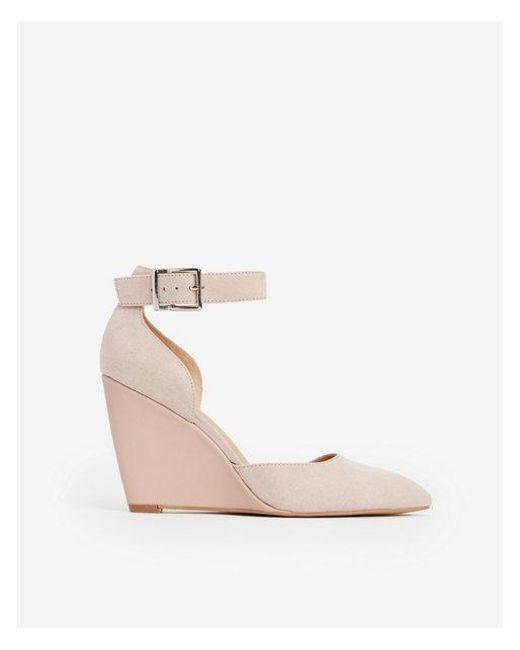 b5e1f0cf3e9 Lyst - Express Closed Toe Wedge Sandals in Pink