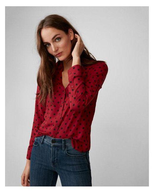 Express | Red Slim Fit Polka Dot Portofino Shirt | Lyst
