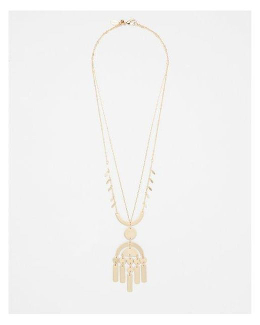 Express - Metallic Layered Geometric Pendant Necklace - Lyst