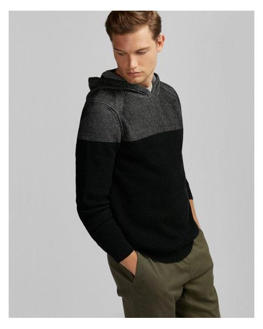 Express - Gray Ribbed Hooded Sweater for Men - Lyst