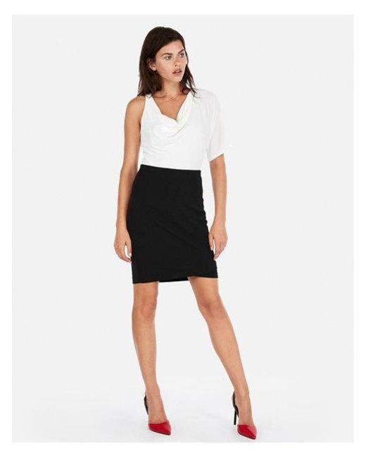 f27e93ce0 Lyst - Express High Waisted Wrap Hem Pencil Skirt in Black
