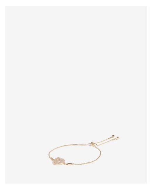 Express - Metallic Cubic Zirconia Heart Pull Cord Bracelet - Lyst