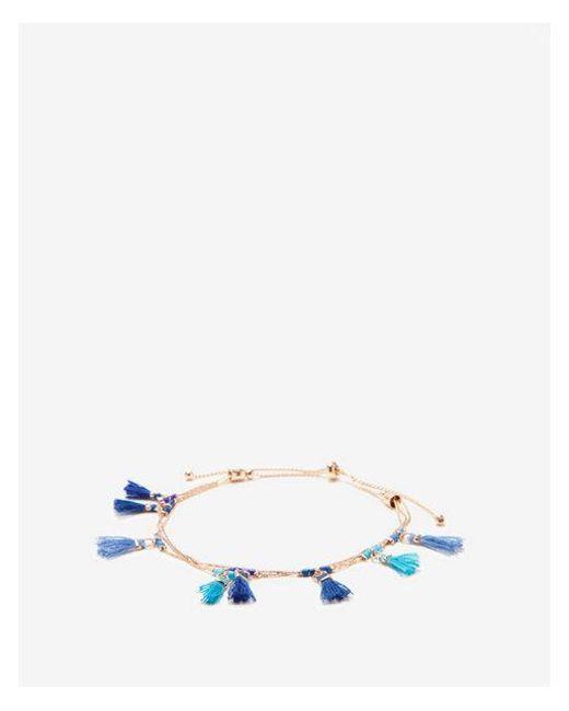 Express - Blue Mini Tassel Pull-cord Bracelet - Lyst