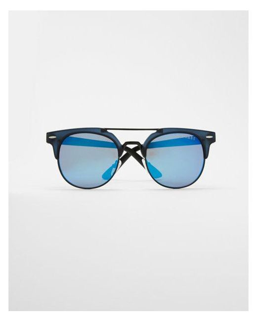 Express | Blue Tinted Browline Sunglasses | Lyst
