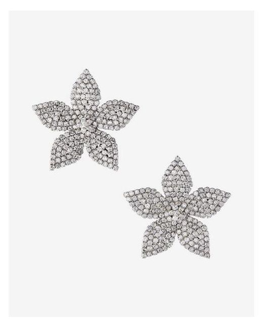 Express | Metallic Pave Flower Earrings | Lyst