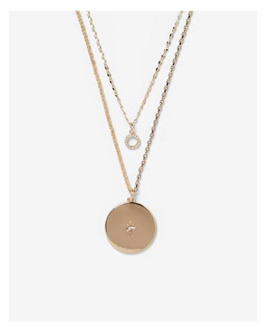 Express - Metallic Engraved Star Charm Layered Necklace - Lyst