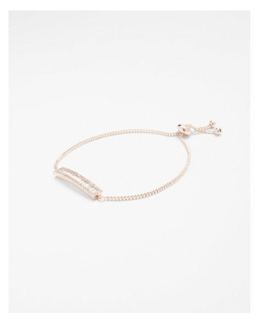 Express - Metallic Cubic Zirconia Bar Pull Through Bracelet - Lyst
