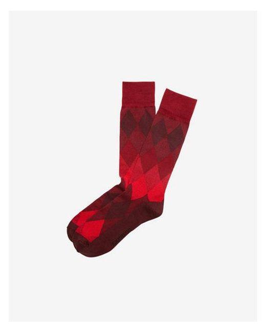Express - Red Marled Diamond Dress Socks for Men - Lyst