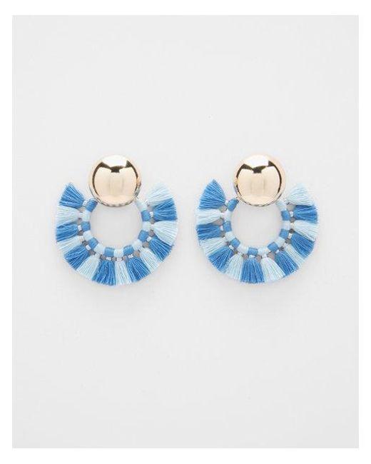 Express - Blue Tassel Hoop Earrings - Lyst