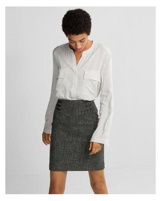 Express - Gray Ed Henley Popover Shirt - Lyst