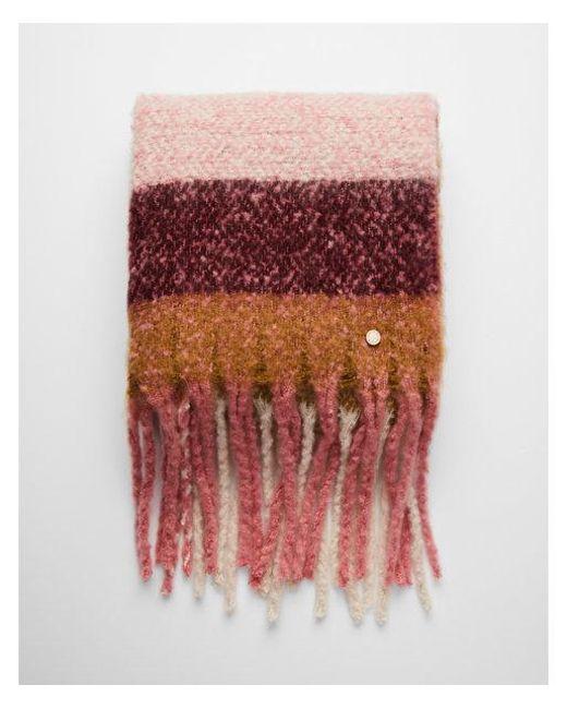 Express - Pink Striped Plaid Fringe Blanket Scarf - Lyst
