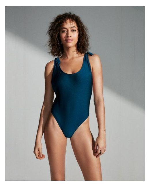 07530e21f5 Lyst - Express Ultra High Leg Shimmer Tie One-piece Swimsuit in Blue