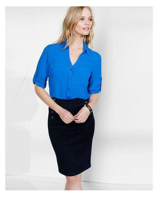 Express - Blue Original Fit Portofino Shirt - Lyst