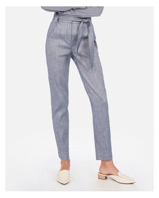 8c722bdb461843 Lyst - Express High Waisted Linen-blend Paperbag Ankle Pant in Blue