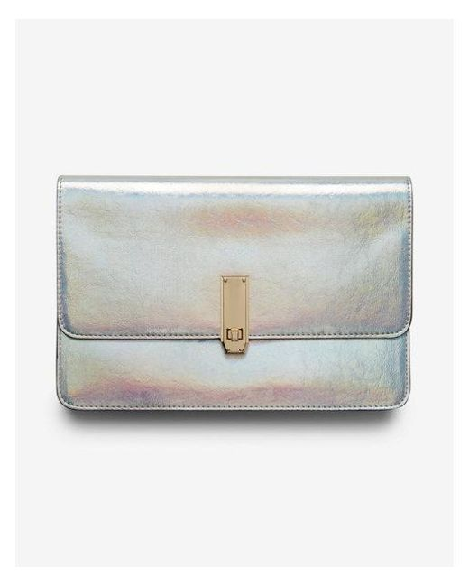 Express - Metallic Holographic Turnlock Clutch - Lyst