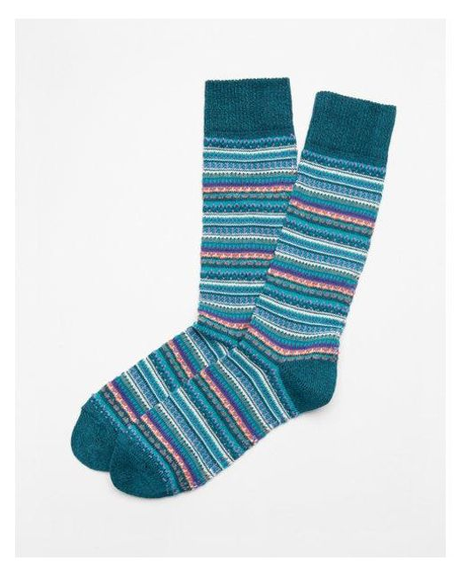 Express | Blue Stripe Fair Isle Boot Socks for Men | Lyst