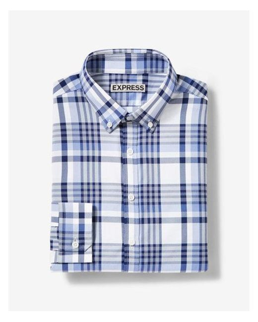 Express - Blue Fitted Plaid Performance Dress Shirt for Men - Lyst