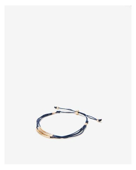 Express - Blue Hammered Metal Pull-cord Bracelet - Lyst