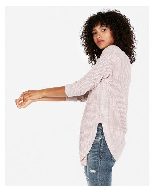Express - Pink Etite Shaker Knit Circle Hem Sweater - Lyst