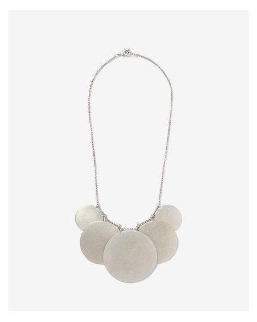 Express - Metallic Matte Metal Disc Statement Necklace - Lyst