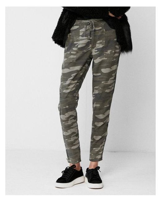 Express - Green High Waisted Ankle Zip Cargo Pant - Lyst