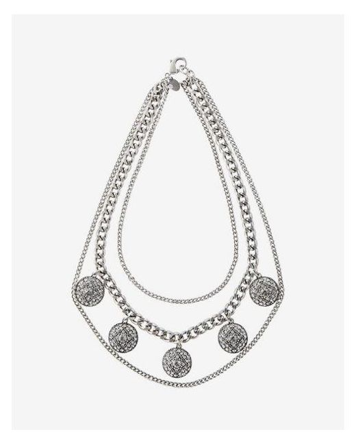 Express | Metallic Pave Station Layered Chain Statement Necklace | Lyst