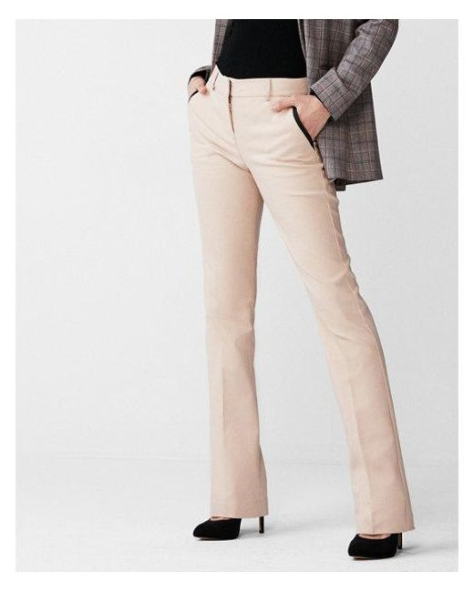 Express - Natural Mid Rise Piped Barely Boot Columnist Pant - Lyst