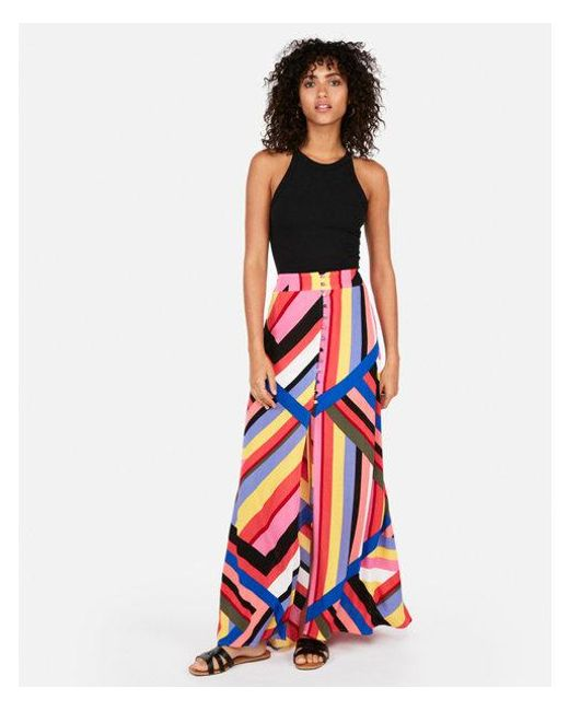 Express - Multicolor High Waisted Striped Button Front Maxi Skirt - Lyst
