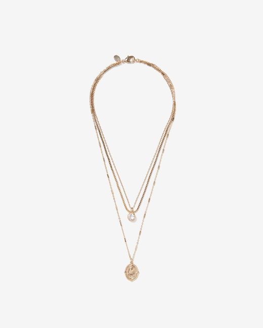 Express - Metallic Nested Mary Charm Necklace - Lyst